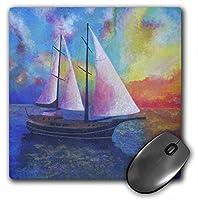 3drose LLC 8x 8x 0.25インチBodrum guletクルーズ帆、ブルー、ボート印象派、オレンジ、リアル、ヨット、パターンマウスパッド( MP _ 48457_ 1)