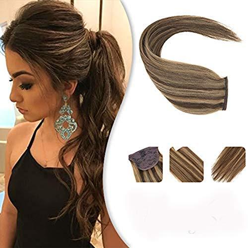[10% aus]Echthaar Extensions Zopf Haarteil Braun zu Blond Wrap Around Pferdeschwanz Echthaar Clip in Ponytail Extensions 35 cm 80g