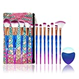 Conjuntos de pinceles de maquillaje de diamante, NIZIYI 12PCS Set de pinceles cosméticos de maquillaje,cerdas de nailon suaves, brochas de belleza, kit de base, con bolsa de cosméticos