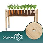 """MIXC Raised Garden Bed, Fir Wooden Planter Boxes for Outdoor Plants, Elevated Standing Planter with Waterproof Legs… 13 【Weather Treated Fir Wood】MIXC raised garden beds is made of untreated fir wood, which resists warping and splitting over time better than cedar. Overall Dimension: 46""""(L) X 21.6""""(W) X 30""""(H).The depth of the planter raised bed is 8.26 inches deep,that can be worked for tomato & carrots & any vegetable flower. 【Drainage Holes & Inner Liner】Four drainage holes are convenient to drain out excess water. Besides, we also provide a Waterproof PE rubber membrane(67""""*55"""") for you to DIY. The liner helps to keep soil and moisture from rotting the wood. 【Easy to Assemble But Sturdy】With complimentary installation guide, you can put this Planter Box together was less than 10 min without hammer and a screwdriver. The joints are dovetailed, which designed for better load-bearing structure. It has a load capacity of up to 385LBS that far heavier than other products."""