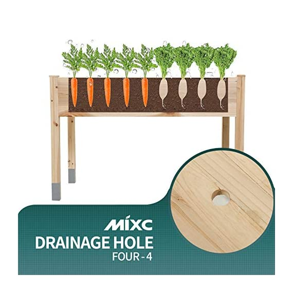 """MIXC Raised Garden Bed, Fir Wooden Planter Boxes for Outdoor Plants, Elevated Standing Planter with Waterproof Legs… 5 【Weather Treated Fir Wood】MIXC raised garden beds is made of untreated fir wood, which resists warping and splitting over time better than cedar. Overall Dimension: 46""""(L) X 21.6""""(W) X 30""""(H).The depth of the planter raised bed is 8.26 inches deep,that can be worked for tomato & carrots & any vegetable flower. 【Drainage Holes & Inner Liner】Four drainage holes are convenient to drain out excess water. Besides, we also provide a Waterproof PE rubber membrane(67""""*55"""") for you to DIY. The liner helps to keep soil and moisture from rotting the wood. 【Easy to Assemble But Sturdy】With complimentary installation guide, you can put this Planter Box together was less than 10 min without hammer and a screwdriver. The joints are dovetailed, which designed for better load-bearing structure. It has a load capacity of up to 385LBS that far heavier than other products."""