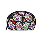 TIZORAX Day of The Dead Sugar Skull Cosmetic Bag Travel Handy Organizer Pouch Makeup Bags Purse...