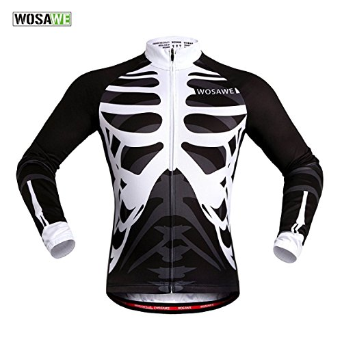 WOSAWE Mens Breathable Cycling Jersey 4D Padded Breathable Quick Dry (Jersey_Skeleton (Long Sleeve), L)