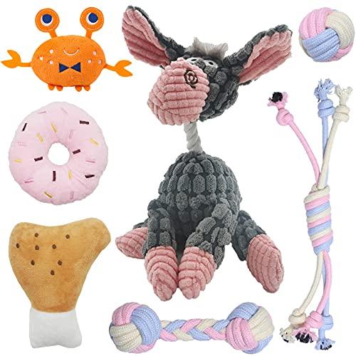 7 paquetes de juguetes masticables para cachorros, juguete de rosquilla, juguete de cuerda, juguete de bola, juguete para perros pequeños, duradero y seguro