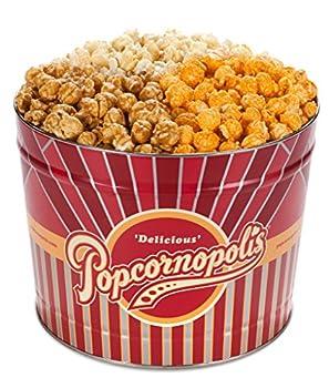Popcornopolis Popcorn Gourmet Popcorn Gift 2 Gallon Tin – Variety Popcorn Tin Including Cheddar Cheese Popcorn Caramel Popcorn and Kettle Corn Popcorn
