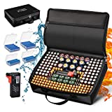Battery Organizer Storage Case, Fireproof Waterproof Explosionproof Safe Carrying Bag Hard Holder Box with Battery Tester Fits for 200+ Batteries AA AAA AAAA C D 9V Lithium 3V LR44 1.5V CR1632 CR2032