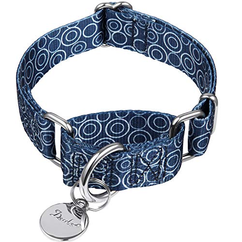 Dazzber Martingale Collars for Dogs, No Pull Anti-Escape Pet Collar, Heavy Duty for Medium Dogs, Adjustable 14 Inch to 21 Inch, Navy Blue - C.R.C