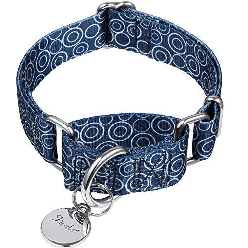 Dazzber Martingal Halsbänder für Hunde, Einstellbar-Heavy Duty- Weiche-Glatte-Leichtes Gehen Sie den Hund für Große/Klein Hunde (Groß, 2.5cm Breit, Marineblau -K.R.K)