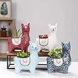 Ceramic Animal Succulent Plant Pots 6 in Creative Alpaca/Llama Cactus pots Flower Planters for Desktop Usage Home Decoration(6 in Alpaca)