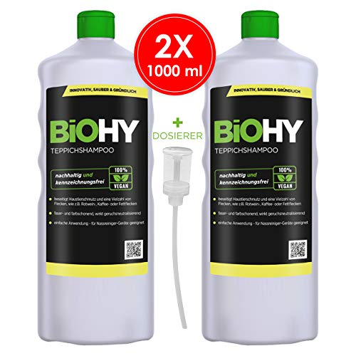 BIOHY tapijtshampoo concentraat 2 x 1 liter flessen + doseerder, tapijtreiniger ideaal voor het verwijderen van hardnekkige vlekken, speciaal voor waszuigers ontwikkel