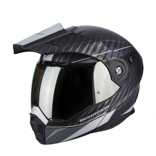 SCORPION Casque moto ADX 1 DUAL Noir mat Argent, Noir/Blanc, M
