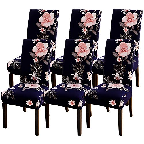 Souarts Stuhlhussen Stretch Stuhlbezug Hussen für Stühle Sitzbezug Bi-Elastic Stuhlüberzug für Esszimmer Universell 1/4/6er Set