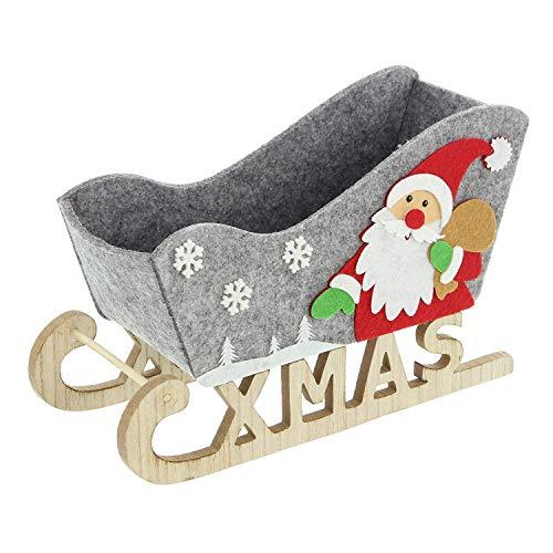 Weihnachtsdeko Schlitten aus Filz mit Holzkufen 30 cm Weihnachtsfigur Filzdeko für Weihnachten