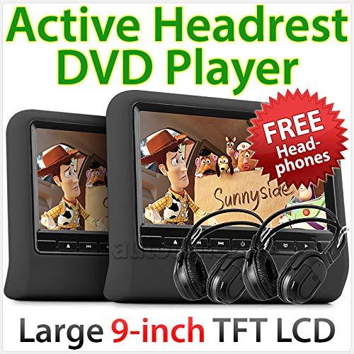 TUNEZ® 2 x 23,9 cm HD Appuie-tête Lecteur DVD USB SD Moniteur actif Casque sans fil IR (Noir)