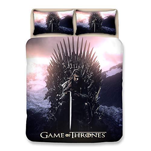 Impreso en 3D Game of Thrones Juego de Funda nórdica 100% Microfibra Juego de Cama (1 Funda nórdica 2 Fundas de Almohada),UKDouble