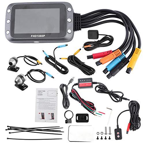 Aramox MT20D DVR para motocicleta, 3 pulgadas 1080P, doble lente, impermeable, DVR, vista frontal y trasera, grabadora, sensor G, soporte de grabación en bucle, GPS