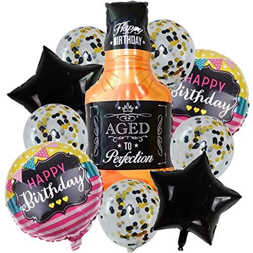 DIWULI, 10 Stück Geburtstags Luftballons, Happy Birthday, Whisky-Flasche + Stern-Ballons + Folien-Ballons + Latex-Ballons Konfetti, Geburtstagsballon, Geburtstag, Party, Dekoration, Geschenk-Deko