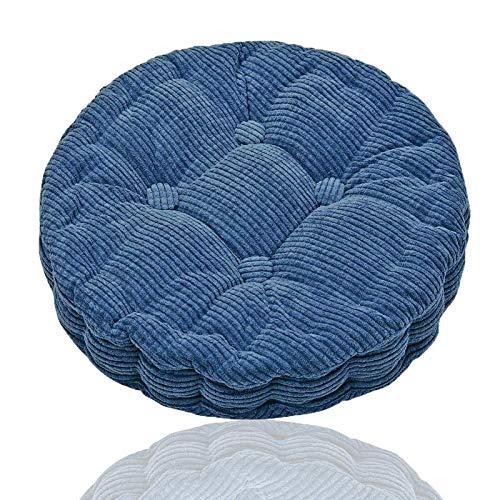 Generisch Cojín redondo para silla, cojín para silla colgante, cojín suave, asiento cómodo, yoga, meditación para el hogar, cocina, comedor, oficina, 45 x 45 cm (azul)