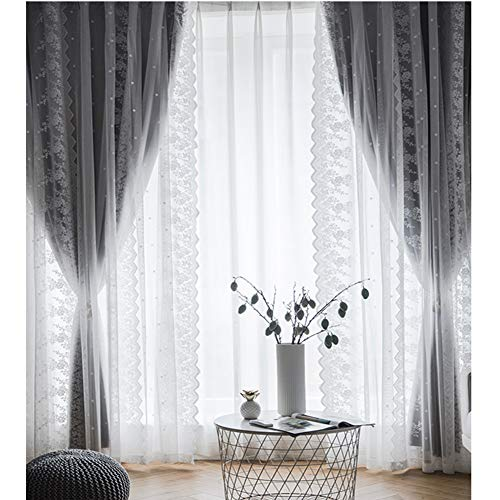 Double Layer Blackout Curtains,White lace embroidery Double Layer Blackout Voile Curtains,Living Room pencil pleat Drapes Panel,Girl Bedroom Curtain,Energy Saving Thermal Insulation Curtain,1pcs