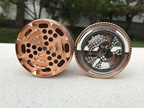 American Notions Diamond SKULL Herb Grinder 63 mm 4 Piece Grinder with Pollen Catcher Durable Zinc Alloy Herb Spice Heavy Duty Grinder (Rose Gold)