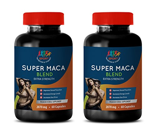 Testosterone Booster Natural - Super MACA Blend 2070 MG - Extra Strength - maca Supplement Best Seller - 2 Bottles 120 Capsules