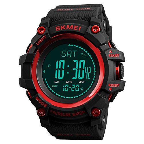 FeiWen Herren Digital Uhren Multifunktional Kompass Schrittzähler Höhenmesser Luftdruck Thermometer Kalorie Multifunktional Outdoor Militär Sport Armbanduhren