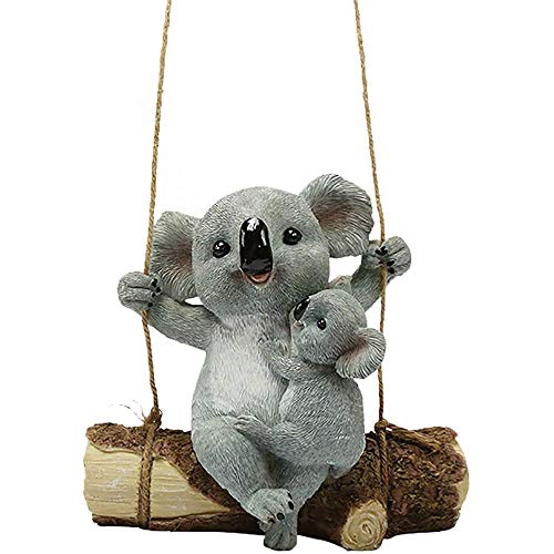 QMHN Hanging Resin Cute Koala Swinging Koala Garden Statue, Cute Garden Gnome for Patio Yard Garden Outdoor Decoration-B