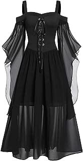 Gothic Dress Plus Size Respctful✿ Women Renaissance Medieval Maxi Dress Ruffle Sleeves lace Off Shoulder Midi Dress