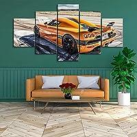 キャンバスポスターランニング5個絵画オレンジ色の車の壁アートギフトプリント写真リビングルームの家の装飾30x40cmx230x60cmx230x80cm-フレームなし