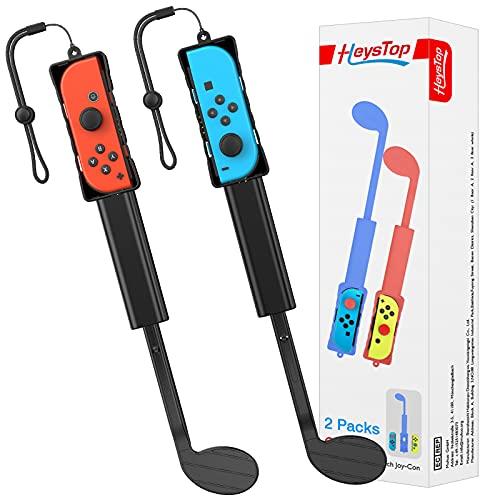 HEYSTOP Palos de Golf Compatible con Mario Golf Switch Super Rush, Clubes de Golf Mario Switch Accessories para Joy-con Control Juego de Dos Piezas, Accesorios de Juego Mario Golf (Negro)