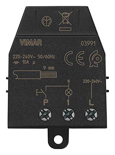 Vimar 03991 Modulo relè magnetico Quid per luci ad impulsi sequenziali ON/OFF, 1 ingresso per pulsante NO, 1 uscita a relè NO 10 A 220-240 V~ 50/60 Hz
