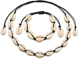 Timetries Cowrie Shell Choker Necklace for Women Seashell Strand Bracelets Summer Hawaiian Jewelry Set Black Chain