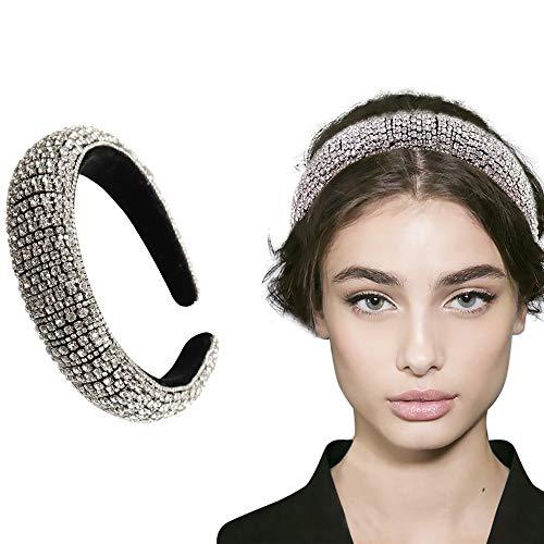 Rhinestone Crystal Diamond Headband for Women Fashionable Handmade Wide Hair Hoops Beaded Bling HairBand Hair Accessories