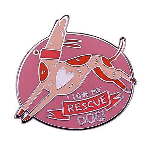 JKDFGJ Ich Liebe Meinen Rettungshund Pink Pin Cute Adoptieren und Retten Stolzes Zubehör Ca. 30mm