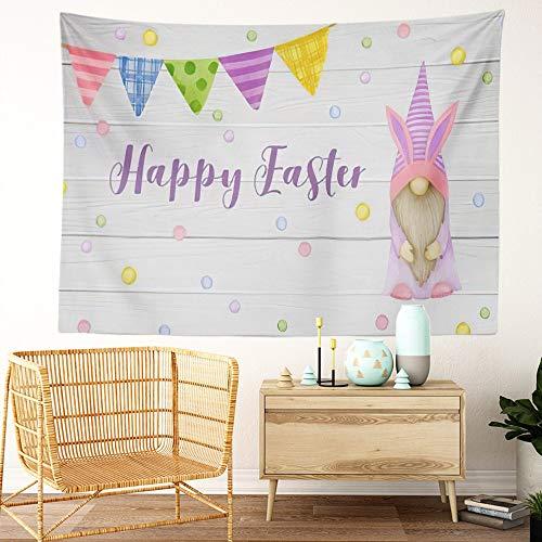 Y·JIANG Tapiz de gnomo de Pascua, diseño de gnomo de acuarela de Pascua con banderas de colores para el hogar, dormitorio o sala de estar, 203 x 152 cm