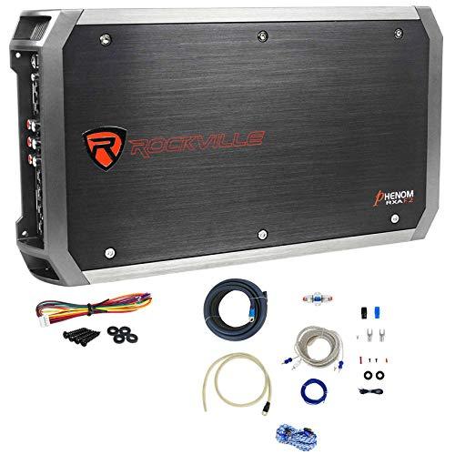 Rockville RXA-F2 2400 Watt Peak/600w CEA RMS 4 Channel Car Amplifier+Amp Kit