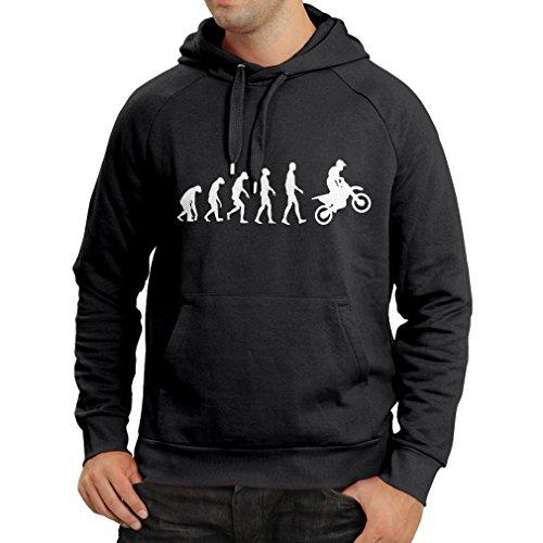 lepni.me Felpa con Cappuccio Evoluzione del Motocross Equipaggiamento per Moto da Bicicletta Sporca Abbigliamento da Corsa (Large Nero Bianco)