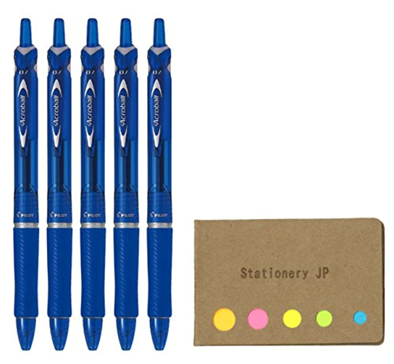 Pilot Acroball Retractable Advanced Ink Ball Point Pens, Fine Point 0.7mm, Blue Ink, Rubber Grip, 5-Pack, Sticky Notes Value Set