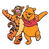 Iron on Patches - Winnie The Pooh 'Winnie & Tigger' Disney - Yellow - 7,5x6,4cm - Application Embroided Patch Badges
