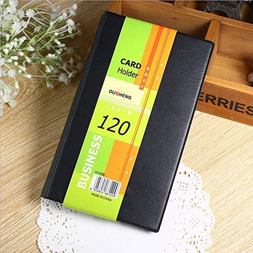 Organizador de tarjetas de visita, libro de capacidad para 120 tarjetas, de piel sintética, soporte para coche, tarjetero para tarjetas de visita
