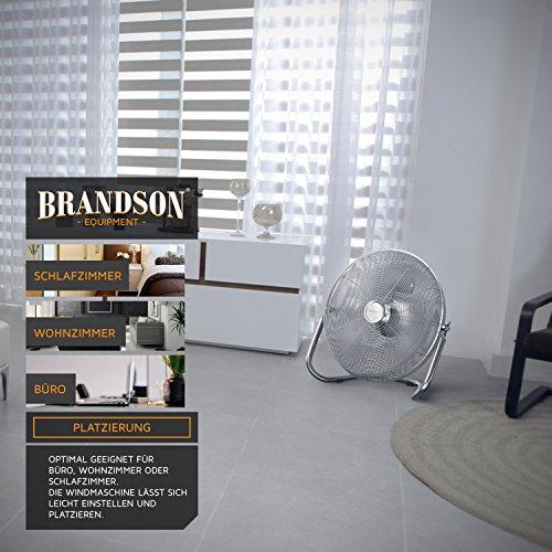 Brandson – Windmaschine Retro Stil 120 Watt | Ventilator in Chrom | Standventilator 50cm | Bodenventilator | hoher Luftdurchsatz | stufenlos neigbarer Ventilatorkopf | silber Bild 6*