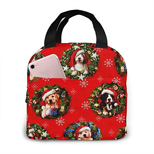 shenguang Christmas Pets Dogs Holiday Lunch Bag Tote Reusable Insulated School Picnic Carrying Lunchbox Container Organizer for Women, Men, Adults, Kids, Girls, Boys
