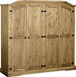 Seconique Corona 4 Door Wardrobe, Distressed Waxed Pine, 479.95 x 1694.95 x 89.95 cm