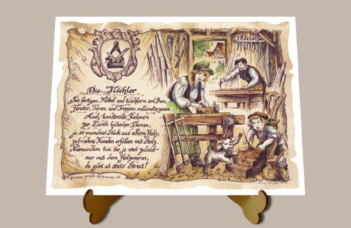 Geschenk Tischler Schreiner Tischlerei Zeichnung Color 30 x 21 cm mit Aufsteller