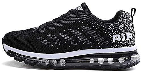 tqgold Sportschuhe Herren Damen Laufschuhe Turnschuhe Sneakers Leichte Schuhe (Schwarz,46 Größe)