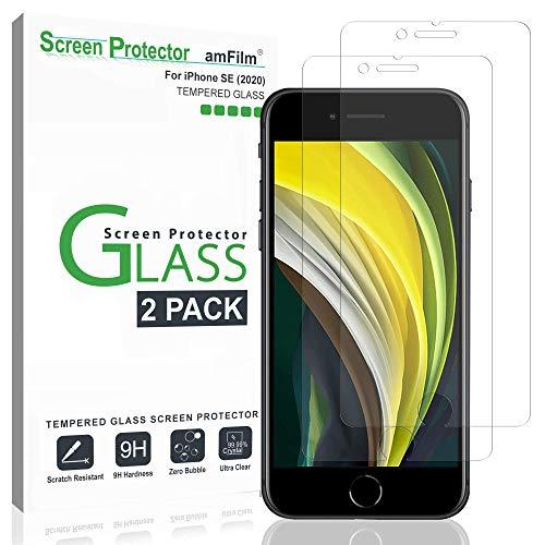 amFilm (2 Piezas) Protector Pantalla para iPhone SE 2020, iPhone 8, iPhone 7, iPhone 6S, y iPhone 6 - Cristal Vidrio Templado Protector de Pantalla para Apple iPhone SE (2020)