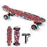 Mini Cruiser Skateboard 56x15cm, SGODDE Monopatín Skateboard Complete con PU Ruedas Luminosas y Rodamiento ABEC-7, Skateboard Niño Niña,Tabla Skateboard para Principiantes y Adultos(con Herramienta T)