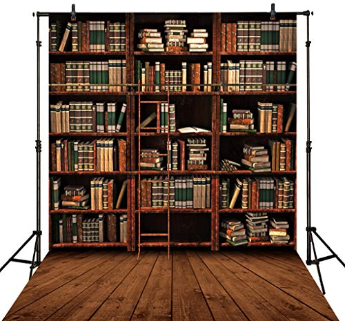 Allenjoy 5x7ft Bookshelf Wood Floor Photography Backdrop Retro Vintage Bookcase Ladder Library Magic Books Office Online Teaching Background PhotoCall Photo Studio Shoot Props Wall Decor
