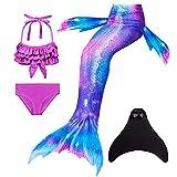 Mädchen Meerjungfrauen mit Meerjungfrau Flosse zum Schwimmen 4 Stück Set Prinzessin Cosplay...