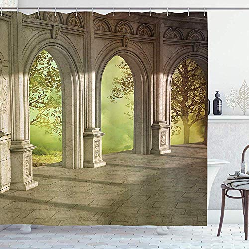 wobuzhidaoshamingzi Wohnungs-Duschvorhang, Fantasielandschaft mit Wald außerhalb & Korridor-Frühlingsgarten-Feen-Illustration